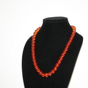 "Beautiful orange 24"" vintage necklace"